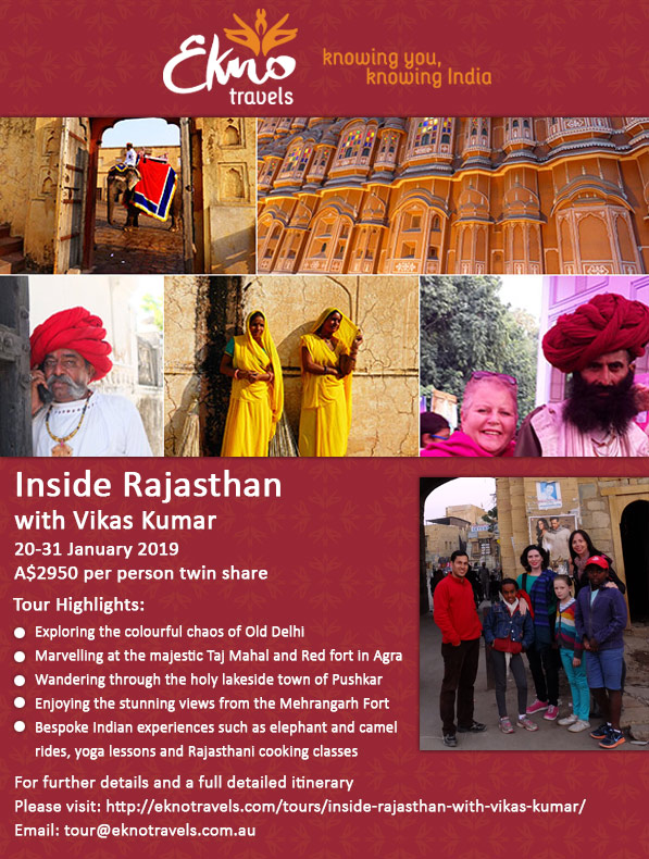 Beautiful Rajasthan with our insider, Vikas Kumar.  Highlights include the Jaipur Literature Festival (billed as the Greatest Show on Earth).
